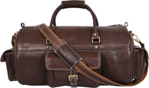 Full Grain Leather Travel Duffle Barrel Bag With Adjustable Straps